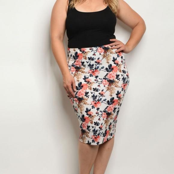 1ca27a85fb01 Skirts | Plus Size Floral Midi Pencil Skirt | Poshmark